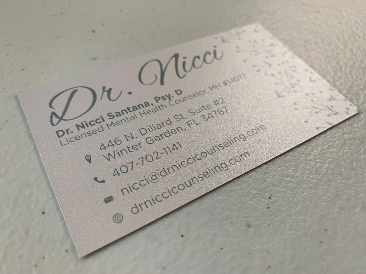 Dr. Nicci Business Card Back
