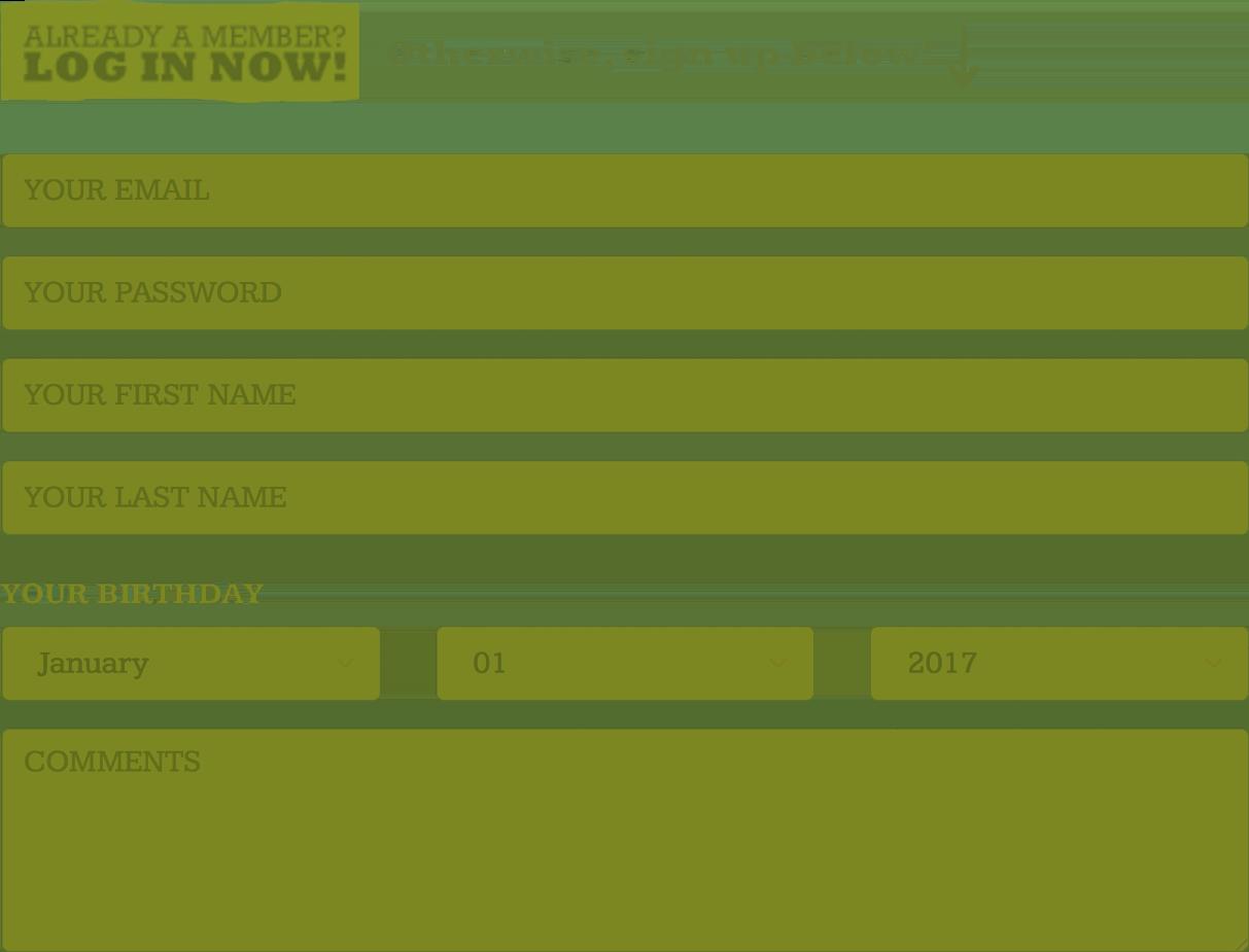 J-List Signup Screenshot