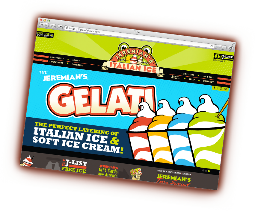 Jeremiah's Italian Ice Website Screenshot